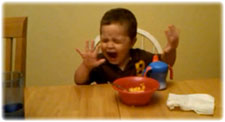 Boy Crying at Breakfast